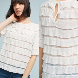 NWT $68 Anthropologie White Ruffles Tiers Top XS